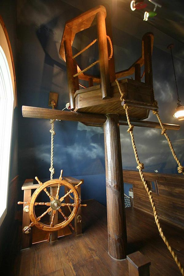start to build a pirate ship bedroom just like the following one