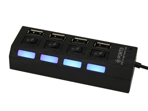 Power Strip Styled 4-Port USB Hub with Independent Switches
