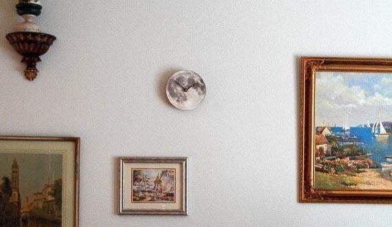 Silver Full Moon Wall Clock