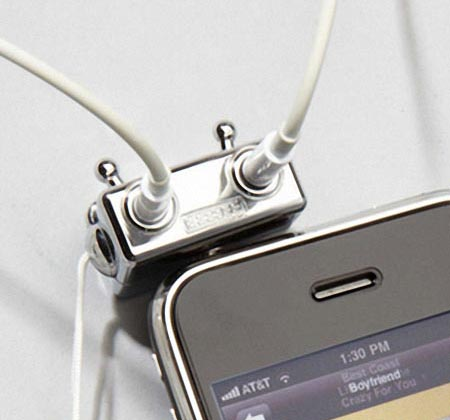 Silver Robot Headphone Splitter