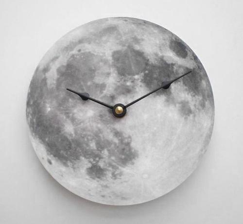 Silver Full Moon Wall Clock