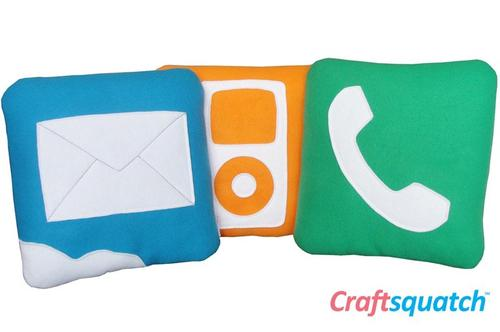 Handcrafted iPhone Icon Pillows