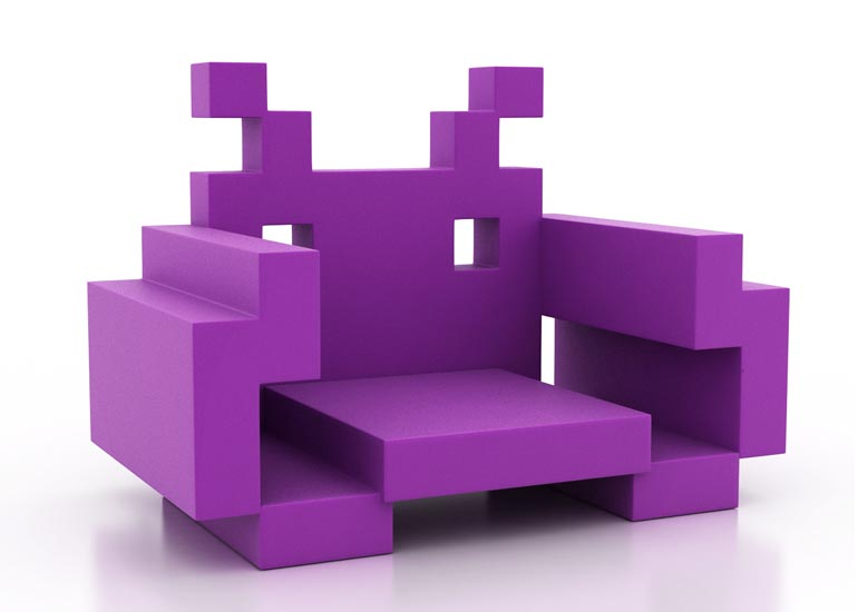 space invaders chair gadgetsin. Black Bedroom Furniture Sets. Home Design Ideas