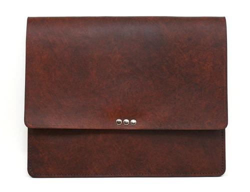 Handmade Riveted Antique Saddle Tan Leather iPad 2 Case