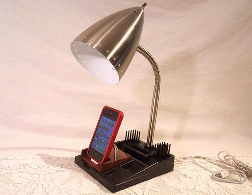 Handcrafted Vintage Lamp with iPhone Dock