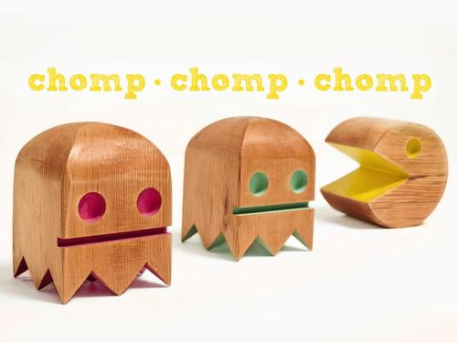 Wooden Pacman Themed Figures