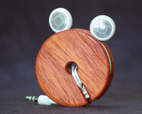 Wooden Earphone Cord Organizer