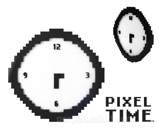 8-Bit Styled Pixel Time Wall Clock