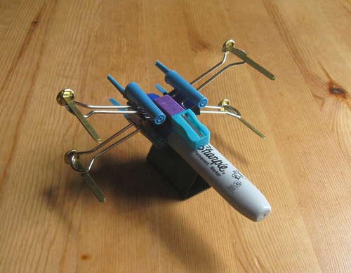 Star Wars X-wing Starfighter Made out with Office Supplies