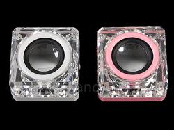 Illuminated Cube USB Speaker with MP3 Player and FM Radio