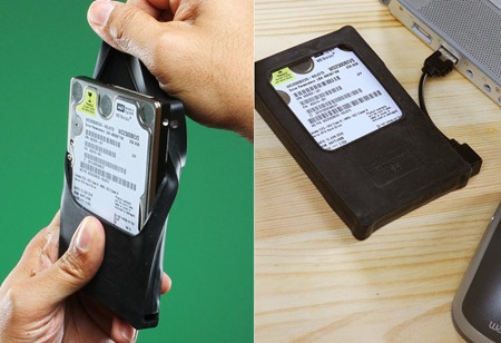 "Turn 2.5"" SATA HDD into External Hard Drive with the Silicone USB Drive Enclosure"
