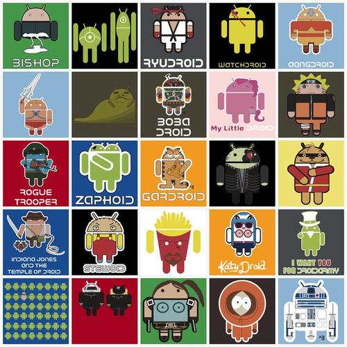Google Android Themed Illustrations Combined with Other Pop Culture