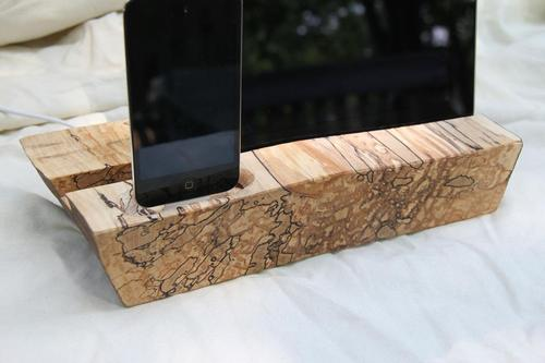 Handcrafted Wooden iPad Stand with iPhone Dock