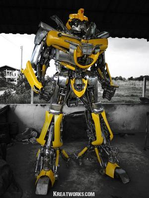Huge Optimus Prime and BumbleBee Made of Recycled Metal