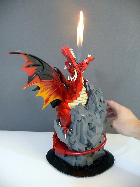 Fire Breathing Dragon Built Out of LEGO Bricks