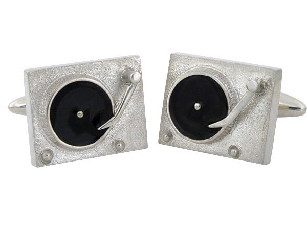 Turntable Styled Sterling Silver Cufflinks