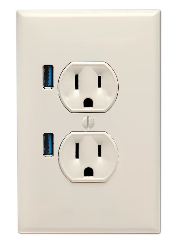 u socket wall outlet with two usb ports gadgetsin. Black Bedroom Furniture Sets. Home Design Ideas