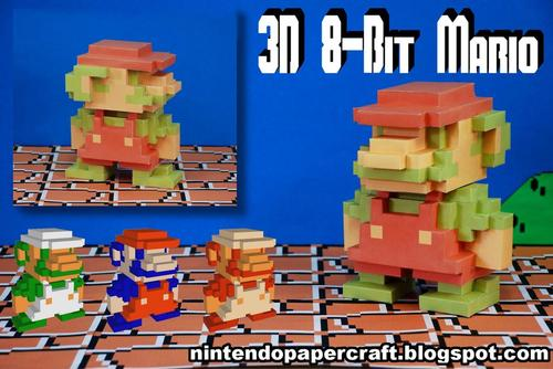 8-Bit Styled 3D Super Mario Paper Craft
