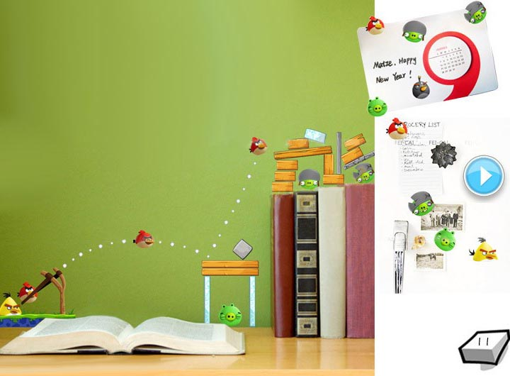 Angry birds wall decal gadgetsin for Angry bird wall mural