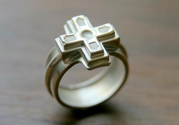 Famicom D-Pad Styled Silver Ring