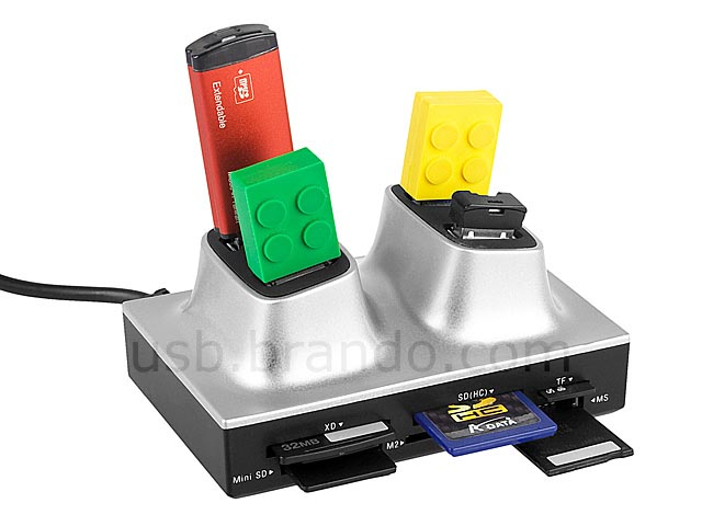 Multi Functional Card Reader with USB Hub and Ethernet Adapter