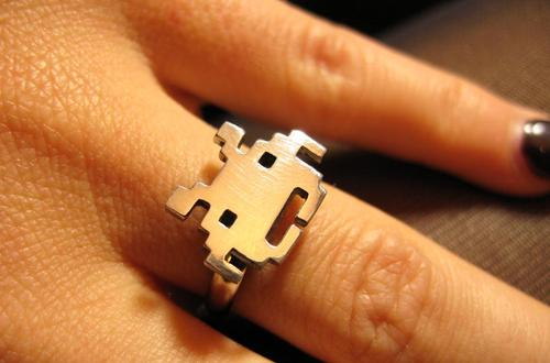 Space Invaders Styled Silver Plated Ring