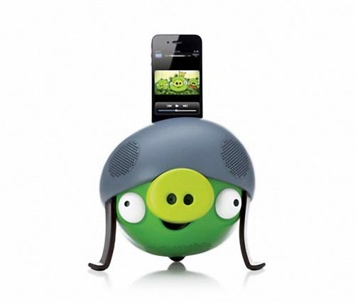 Angry Birds Helmet Pig Dock Speaker for iPhone and iPod