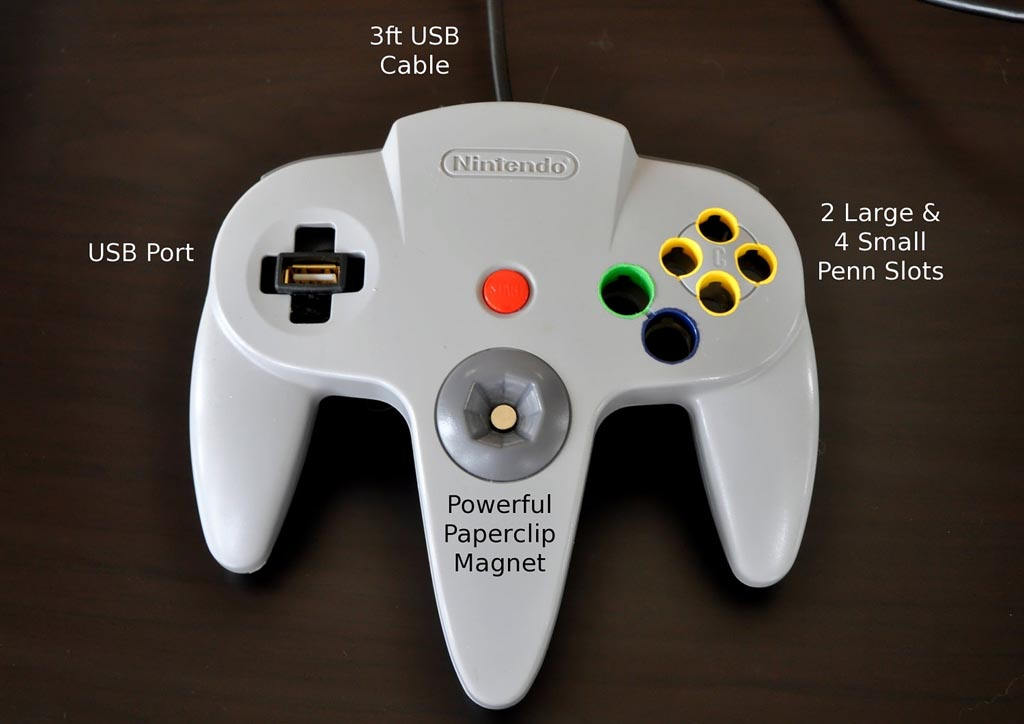n64 controller desk organizer with usb port