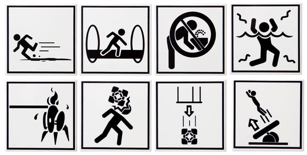 Portal 2 Warning Sign Coaster Set