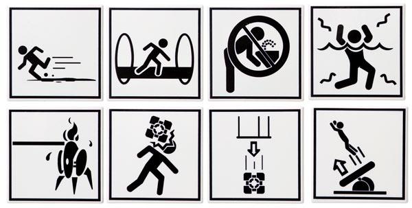 Portal 2 Warning Sign Coaster Set