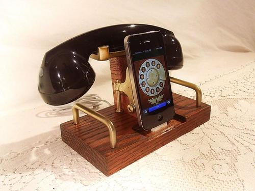 Handcrafted iPhone Dock with Retro Bluetooth Handset