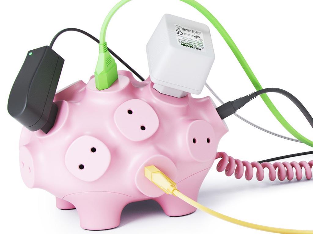 Piggy Bank Styled Power Strip Gadgetsin