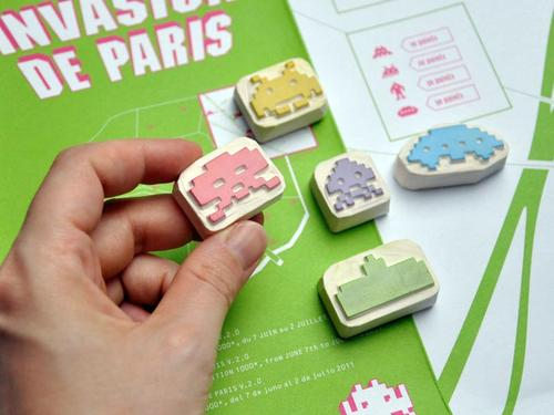 Space Invaders Hand Carved Rubber Stamp Set