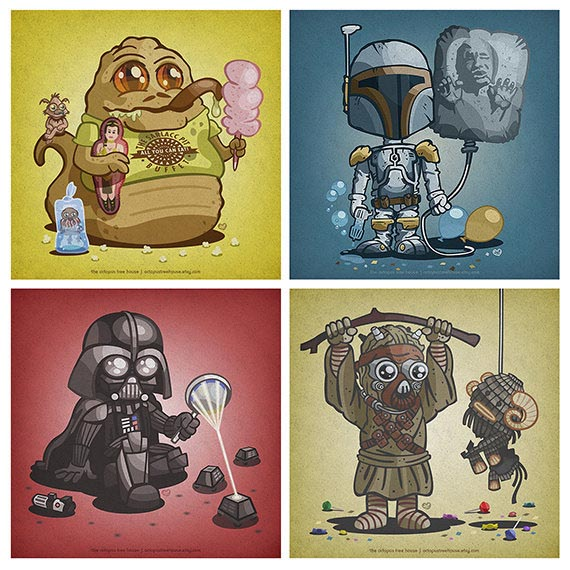Cute Star Wars Character Illustration Set