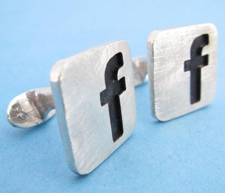 Facebook Themed Sterling Silver Cufflinks