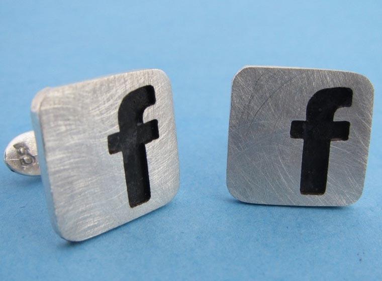 Facebook Themed Sterling Silver Cufflinks