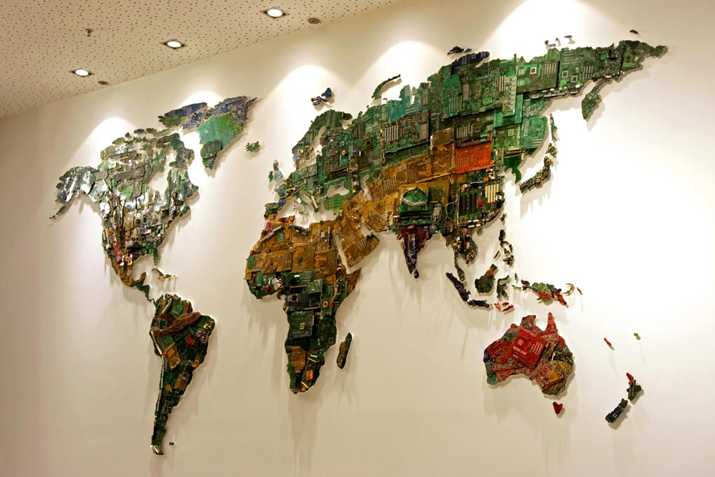 World map built with recycled computers gadgetsin world map built with recycled computers sciox Images