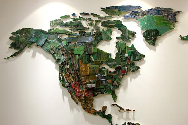 World Map Built with Recycled Computers