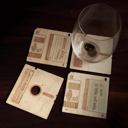 Custom Floppy Disk Styled Coaster Set