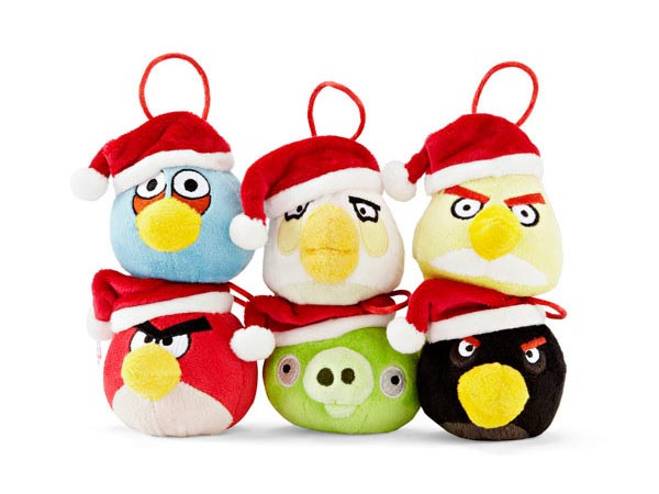 Angry Birds Plush Christmas Tree Decorations with Santa Hats