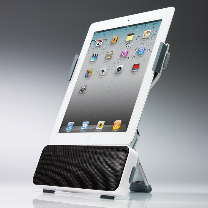 portable ipad docking station with stereo speakers gadgetsin. Black Bedroom Furniture Sets. Home Design Ideas