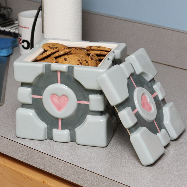 Portal Weighted Companion Cube Cookie Jar