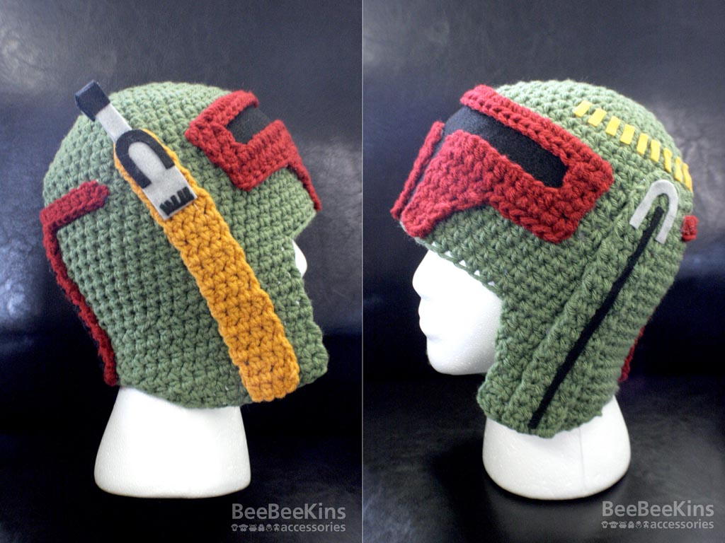 The Star Wars Boba Fett helmet crochet hat is priced at $54.99 USD. If ...