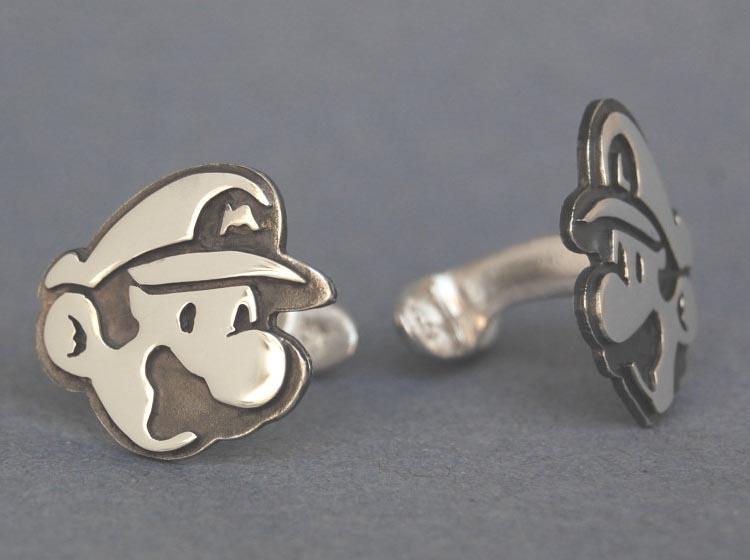 Handmade Mario and Luigi Sterling Silver Cufflinks