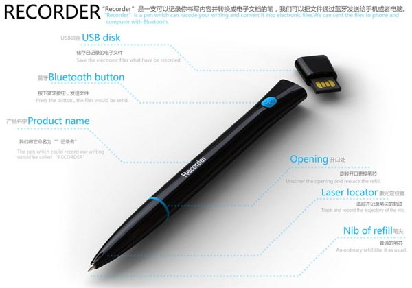 Recorder A Magic Pen with Bluetooth Technology