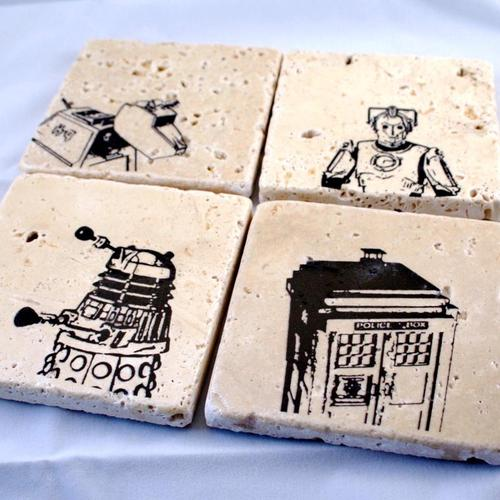 Doctor Who Themed Marble Coaster Set