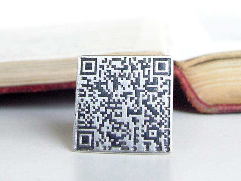 Customizable QR Code Sterling Silver Cufflinks