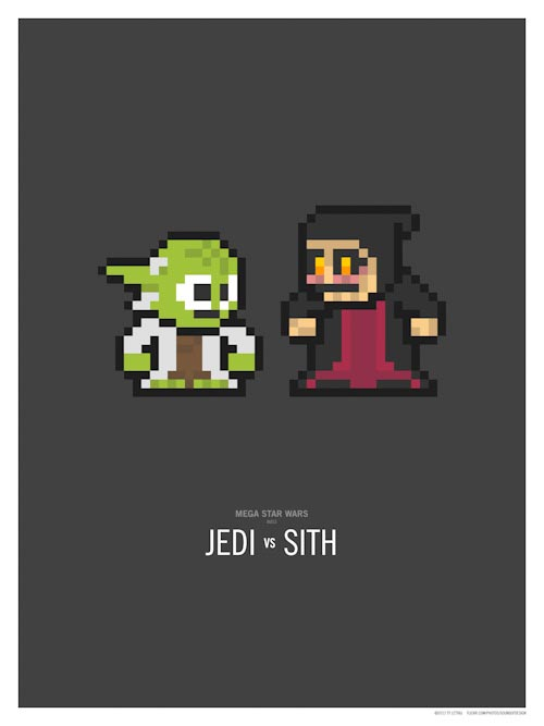 Pixelated Star Wars Character Themed Illustrations