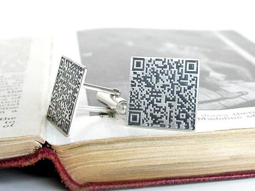 Customizable QR Code Sterling Silver Cufflinks