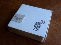 Letterpress Printed Robot with Heart Coaster Set